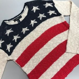 Forever 21 American Flag Top Sweater Knit Shirt S